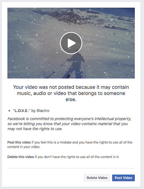 I received a warning from Facebook that my video was not posted  Why